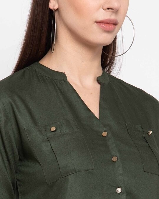 Shop Women Olive Green Boxy Solid Casual Shirt