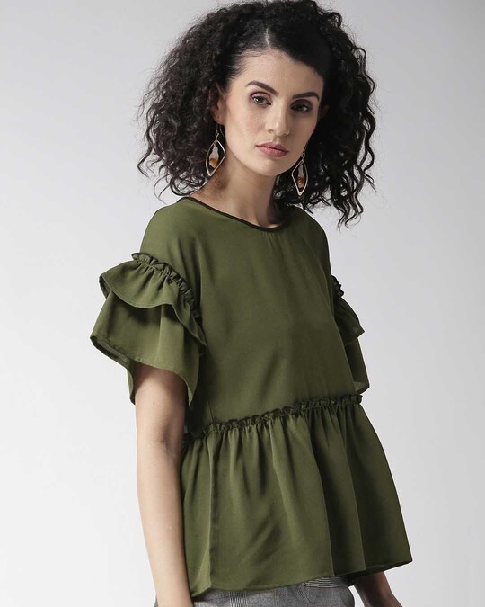 Shop Style Quotient Women Olive Green Solid A-Line Top-Back