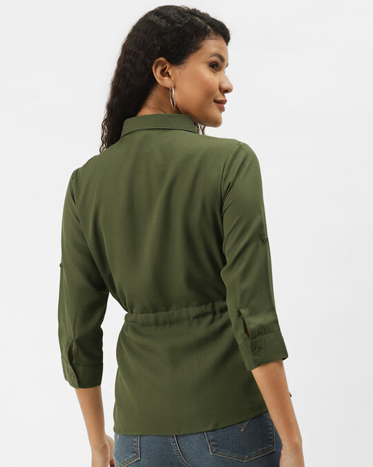 Shop Women Olive Green Solid Cinched Waist Top-Full