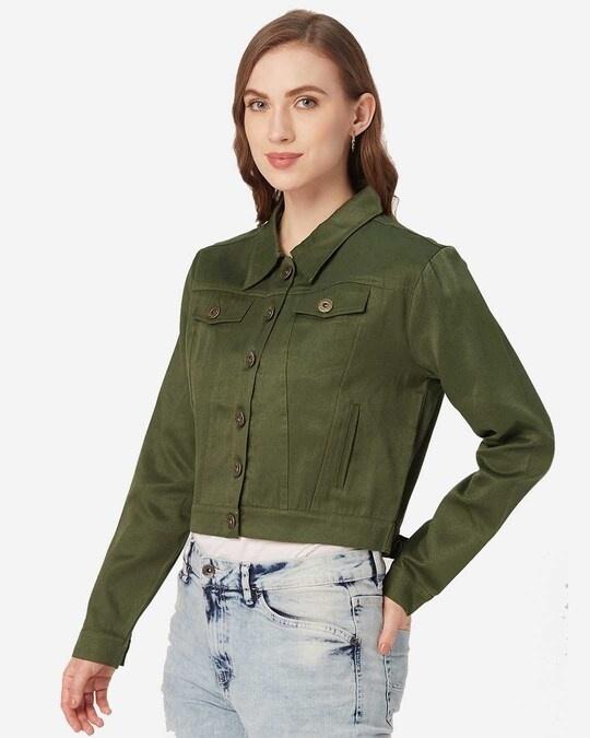Shop Women Olive Green Solid Lightweight Crop Tailored Jacket-Design