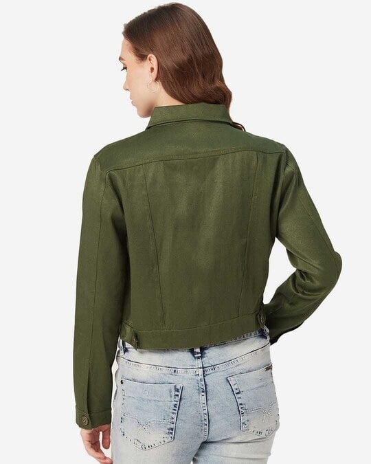 Shop Women Olive Green Solid Lightweight Crop Tailored Jacket-Full