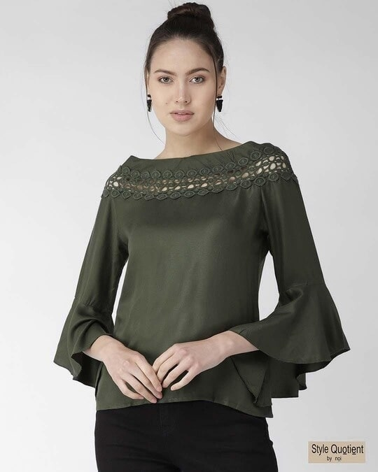 Shop Women Olive Green Solid Top-Front