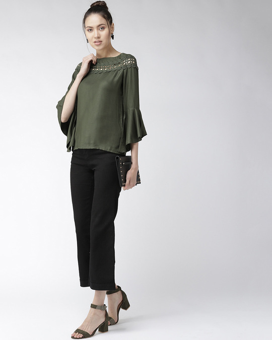 Shop Women Olive Green Solid Top-Full