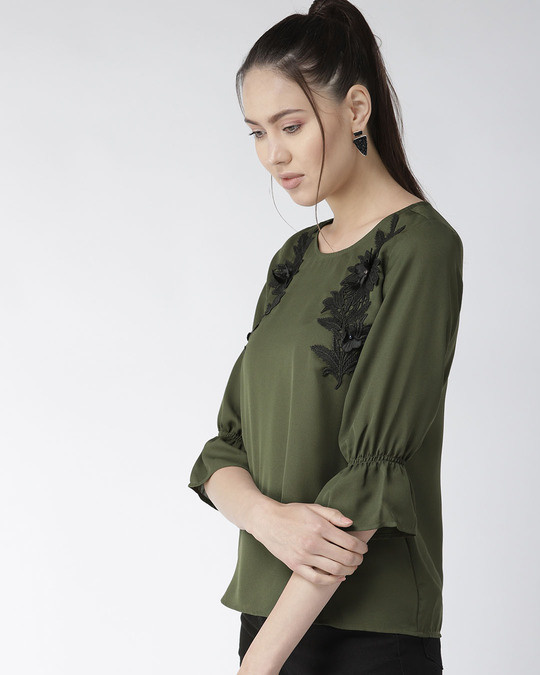 Shop Style Quotient Women Olive Green Solid Top with Applique Detail-Back