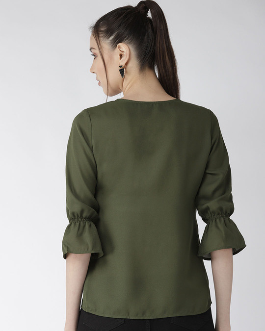 Shop Style Quotient Women Olive Green Solid Top with Applique Detail-Design