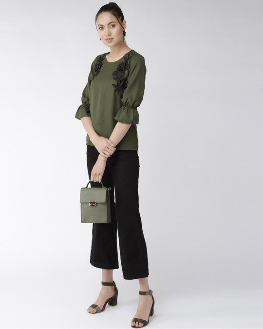 Shop Style Quotient Women Olive Green Solid Top with Applique Detail-Full