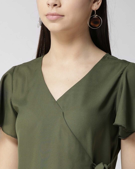 Shop Style Quotient Women Olive Green Solid Wrap Top