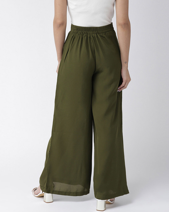 Shop Women Olive Green Wide Leg Solid Palazzos-Full
