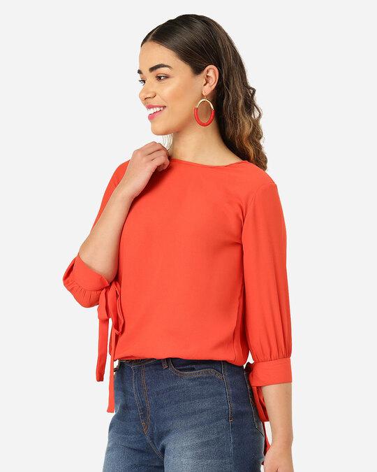 Shop Style Quotient Women Orange Solid Blouson Top-Back
