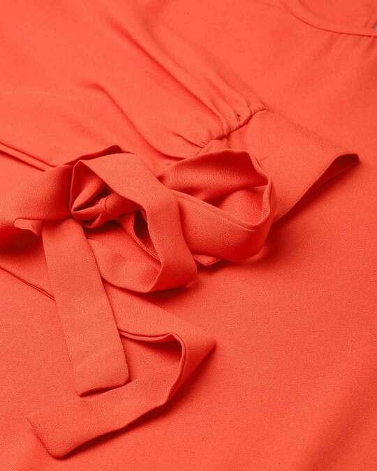 Shop Style Quotient Women Orange Solid Blouson Top