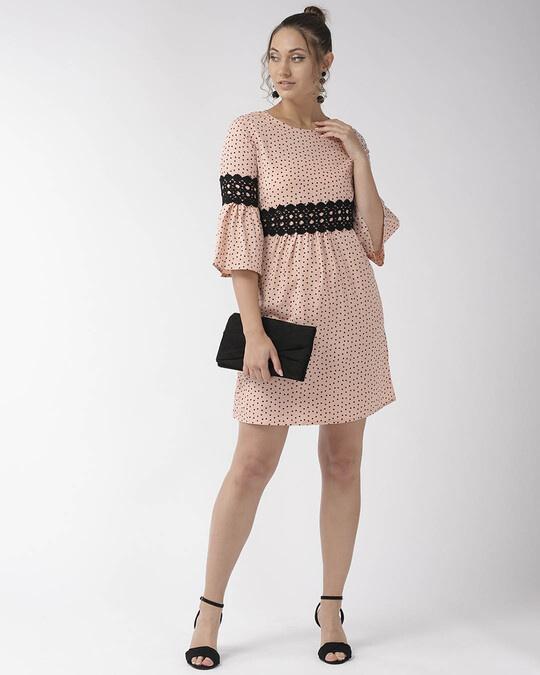 Shop Women Peach Coloured & Black Printed A Line Dress-Full