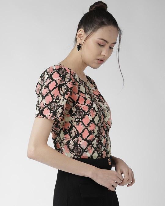 Shop Style Quotient Women Peach-Coloured & Black Printed Top-Back