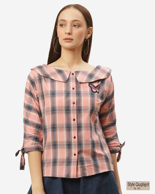 Shop Women Peach Coloured Checked Top-Front