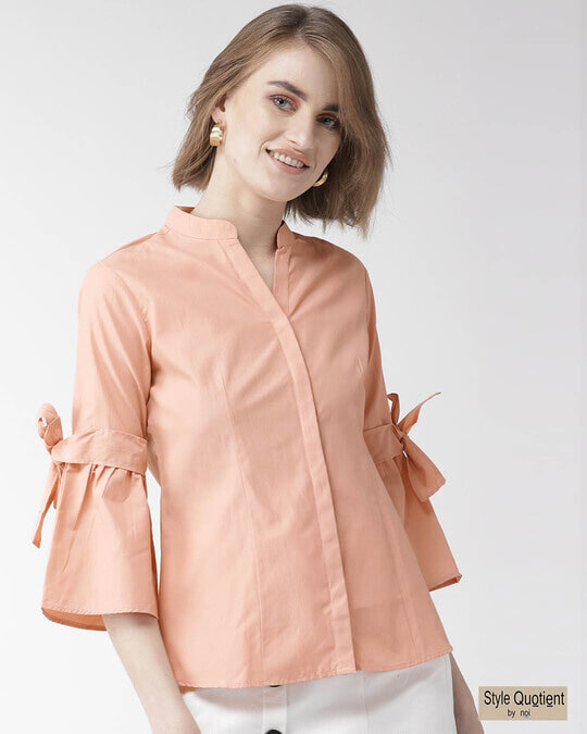 Shop Women Peach Coloured Classic Regular Fit Solid Casual Shirt-Front
