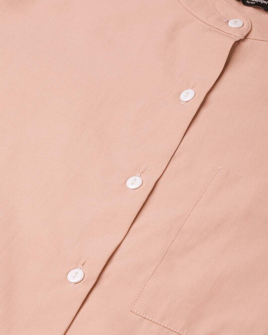Shop Women Peach Coloured Comfort Boxy Fit Solid Casual Shirt