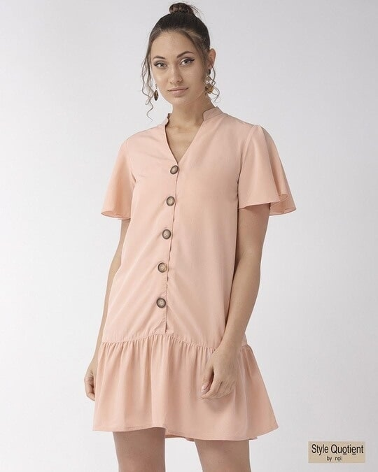 Shop Style Quotient Women Peach Coloured Solid A-Line Dress-Front