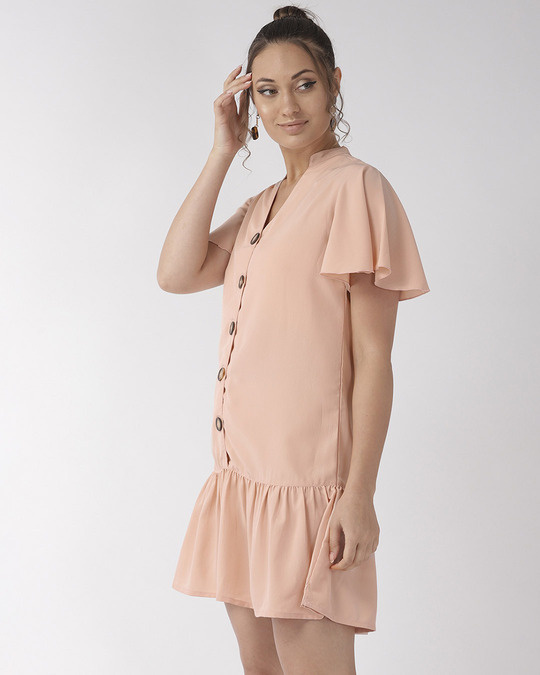 Shop Style Quotient Women Peach Coloured Solid A-Line Dress-Back