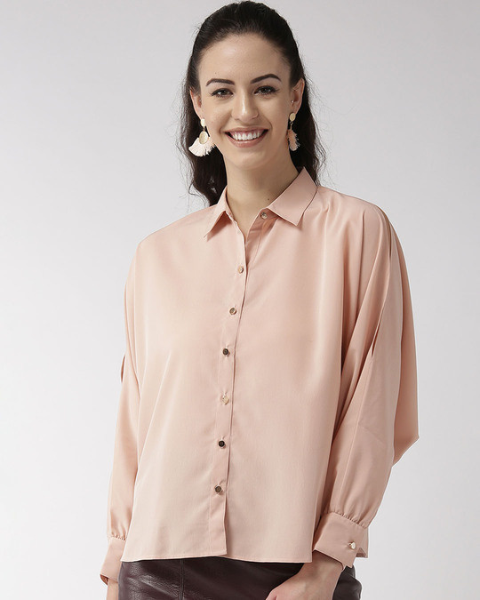 Shop Style Quotient Women Peach-Coloured Solid Contemporary Fit Casual Shirt-Back