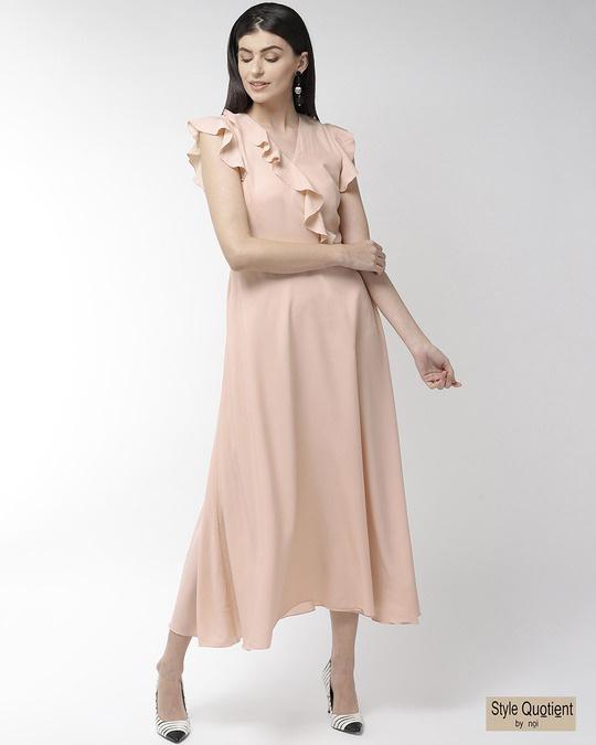 Shop Women Peach Coloured Solid Maxi Dress Women's Peach Coloured Solid Maxi Dress-Front