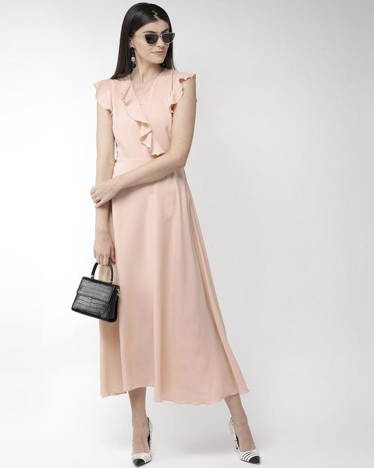 Shop Women Peach Coloured Solid Maxi Dress Women's Peach Coloured Solid Maxi Dress