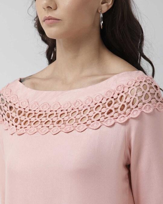 Shop Style Quotient Women Peach-Coloured Solid Top
