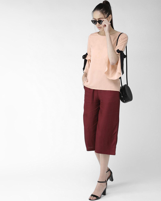 Shop Style Quotient Women Peach-Coloured Solid Top-Full