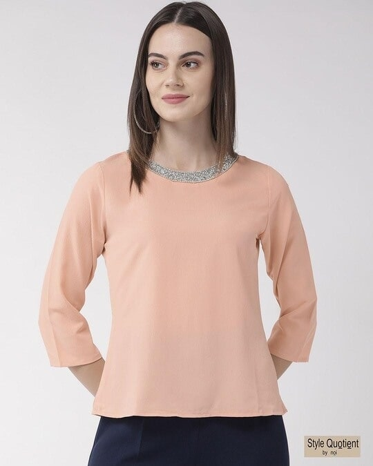 Shop Style Quotient Women Peach-Coloured Solid Top-Front