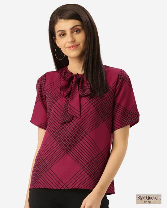 Shop Style Quotient Women Pink & Black Printed Top-Front