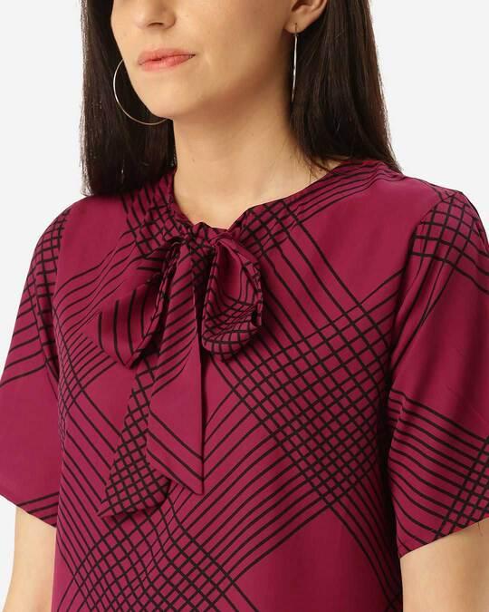 Shop Style Quotient Women Pink & Black Printed Top