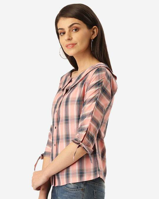Shop Style Quotient Women Pink & Teal Blue Checked Shirt Style Top-Back