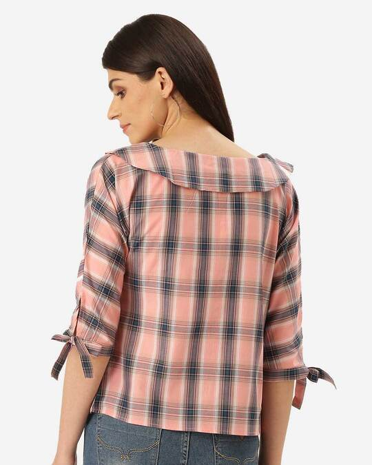 Shop Style Quotient Women Pink & Teal Blue Checked Shirt Style Top-Design