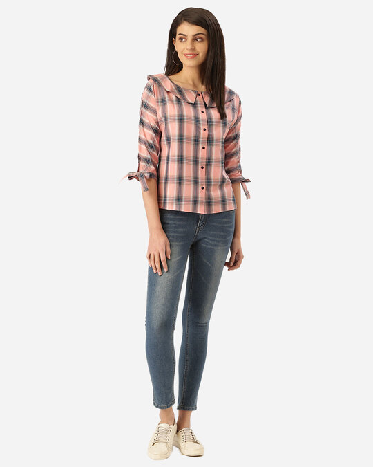 Shop Style Quotient Women Pink & Teal Blue Checked Shirt Style Top-Full