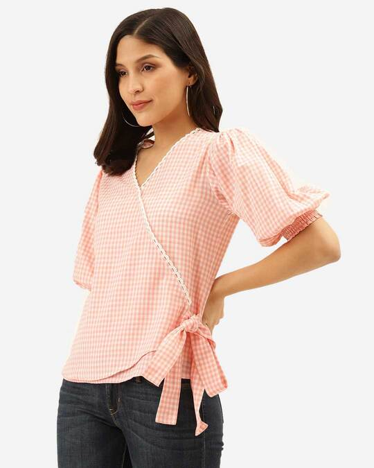 Shop Style Quotient Women Pink & White Checked Wrap Top-Back