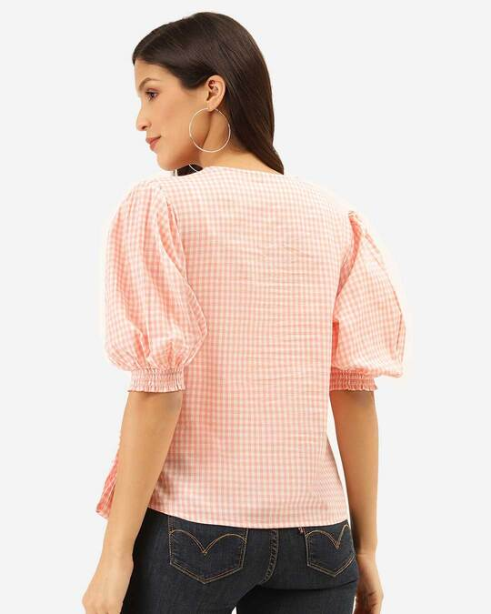 Shop Style Quotient Women Pink & White Checked Wrap Top-Design