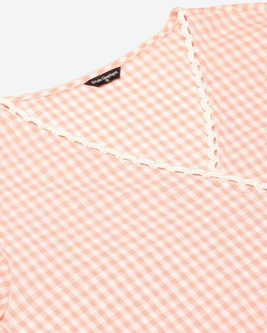 Shop Style Quotient Women Pink & White Checked Wrap Top