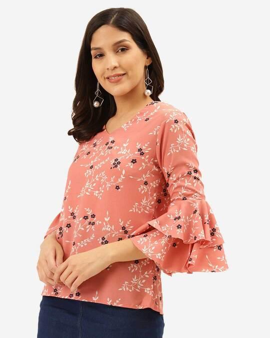 Shop Style Quotient Women Pink & White Floral Print Regular Top-Back