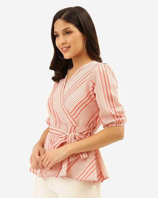 Shop Style Quotient Women Pink & White Striped Wrap Top-Back