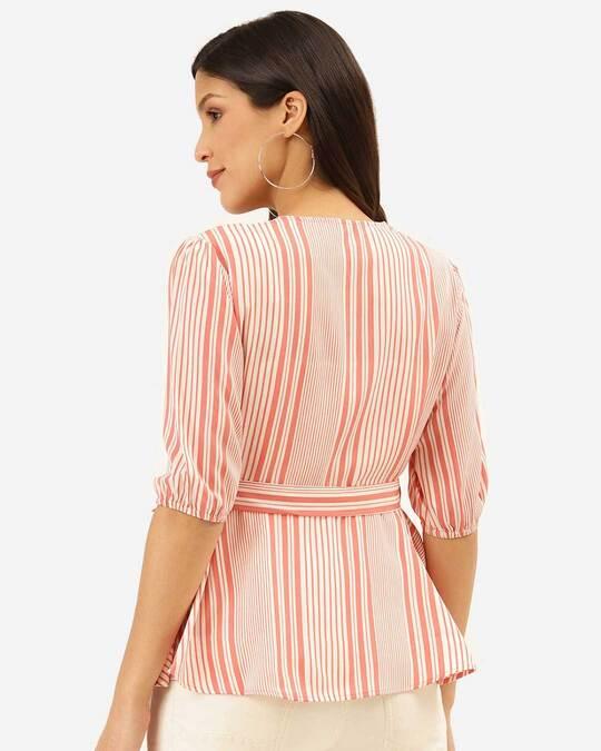 Shop Style Quotient Women Pink & White Striped Wrap Top-Design