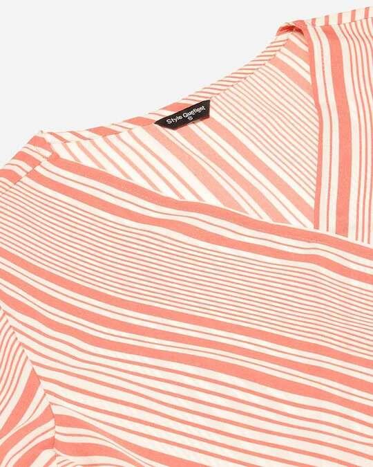 Shop Style Quotient Women Pink & White Striped Wrap Top