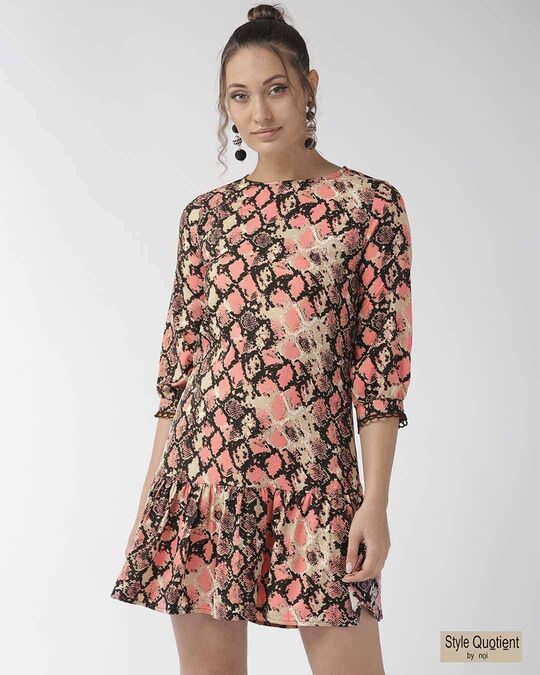 Shop Style Quotient Women Pink Animal Printed A-Line Dress-Front