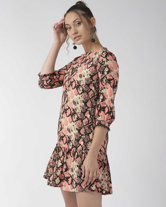Shop Style Quotient Women Pink Animal Printed A-Line Dress-Back