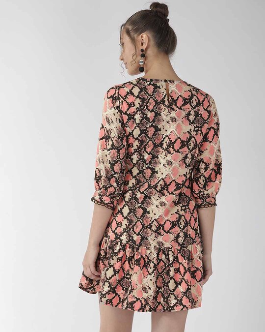 Shop Style Quotient Women Pink Animal Printed A-Line Dress-Design