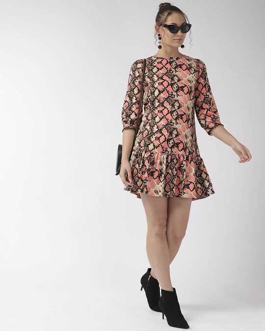 Shop Style Quotient Women Pink Animal Printed A-Line Dress-Full
