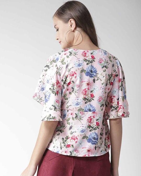 Shop Women Pink Floral Print Top-Design