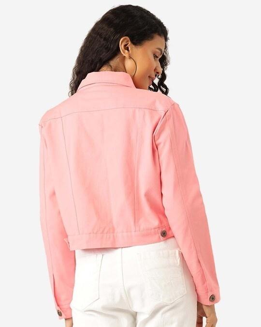 Shop Women Pink Solid Cropped Denim Jacket-Full