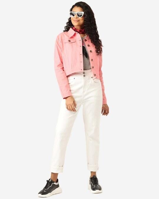 Shop Women Pink Solid Cropped Denim Jacket