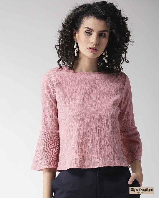 Shop Women Pink Solid Top-Front