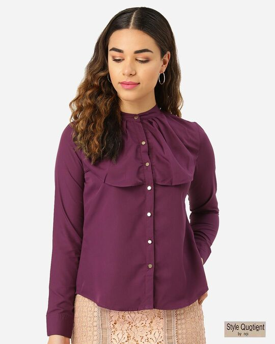 Shop Women Purple Contemporary Fit Solid Casual Shirt-Front