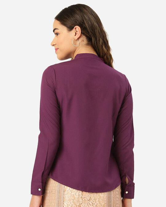 Shop Women Purple Contemporary Fit Solid Casual Shirt-Design