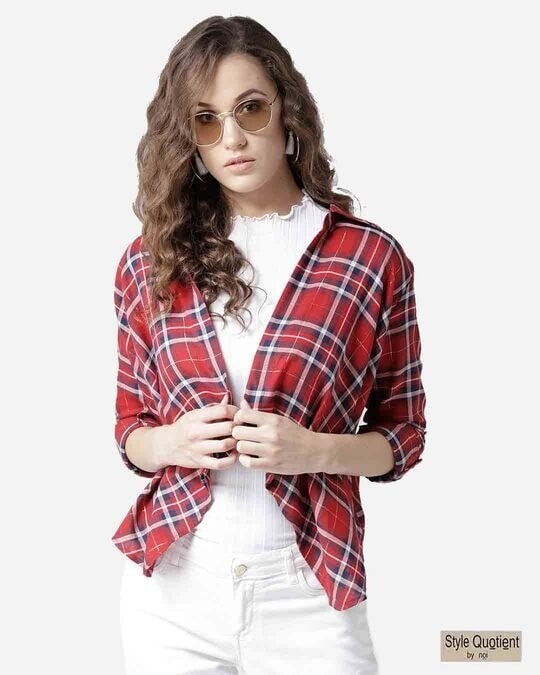 Shop Style Quotient Women Red & Navy Blue Checked Open Front Shrug-Front